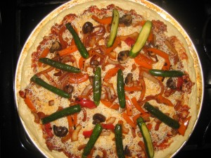 This is the chicken version of the bbq pizza prior to baking.  Love those baby zucchini!