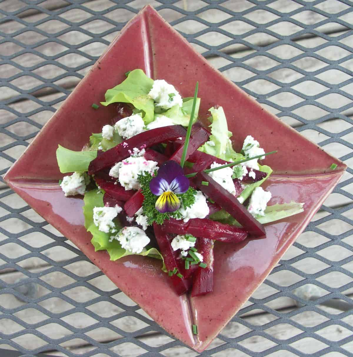 Roasted Beet Salad with Herbed Goat Cheese