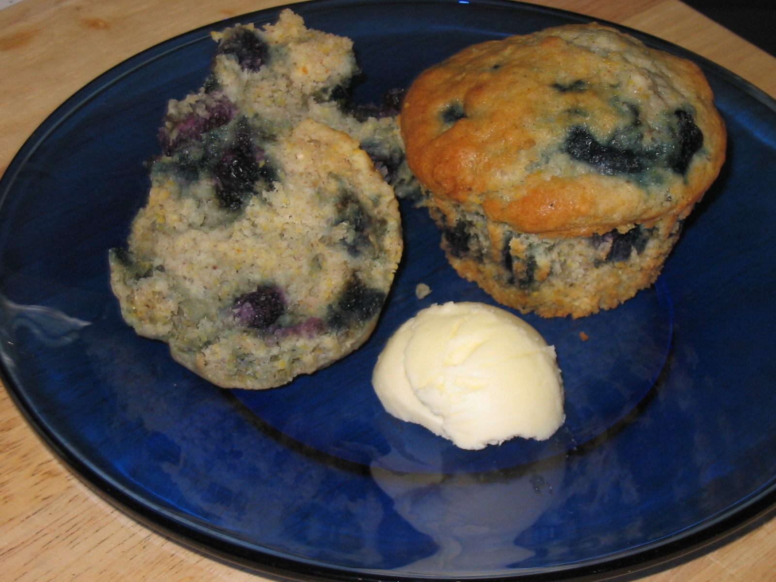 Blue, Blue, Blueberry Cornmeal  Muffins