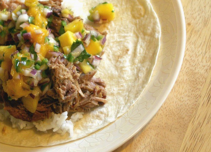 This is the culimation of all the cooking from this week; the Slow-Cooked Cuban Pork with FMC Mango Salsa and steamed jasmine rice on flour tortillas.  And when you eat this life is very, very good.