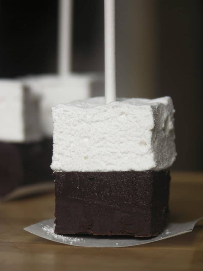 Hot Chocolate on a Stick: This creamy chocolate fudge topped with marshmallow can be left in its pure form and nibbled, or swirled through hot milk for decadent hot chocolate.