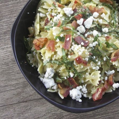 Bacon, Gorgonzola, Avocado and Basil Pasta
