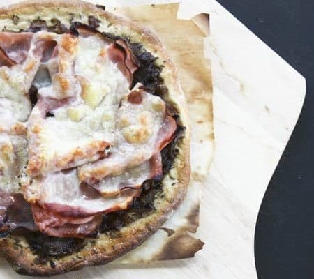 Ham and Swiss with Caramelized Onion on Rye Pizza