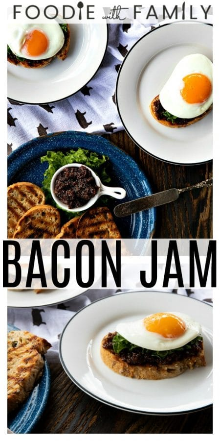Bacon Jam: Salty, meaty, chewy, sweet, savoury, smoky, bacony goodness. Bacon is crisped and made into the ultimate breakfast spread with maple syrup, onions, coffee, brown sugar and pepper. There is simply nothing better than this on toast with a fried egg on top!