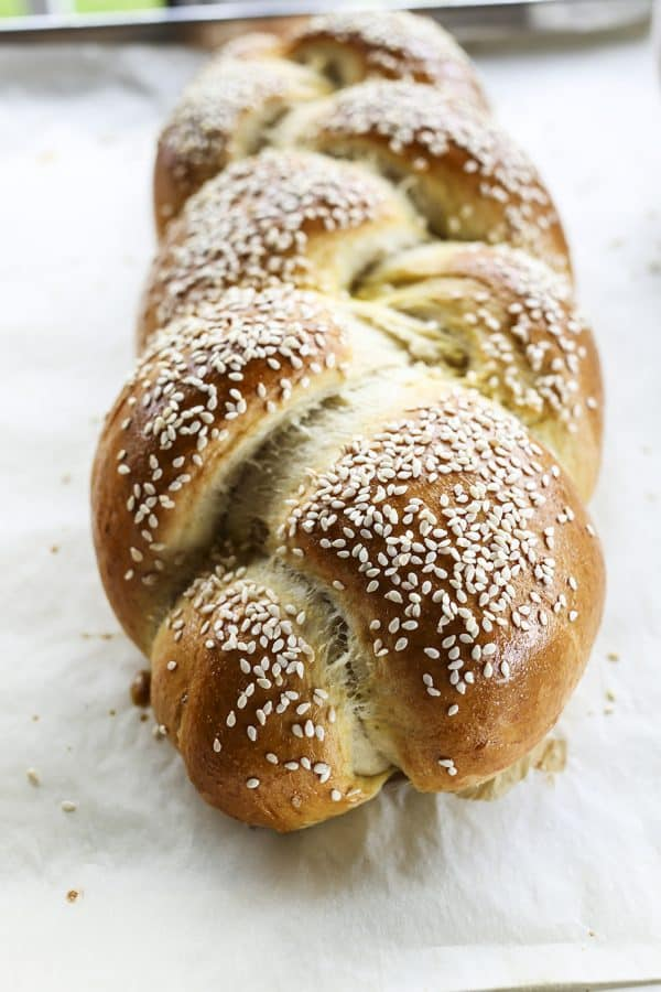 Sesame Semolina Braided Bread from foodiewithfamily.com