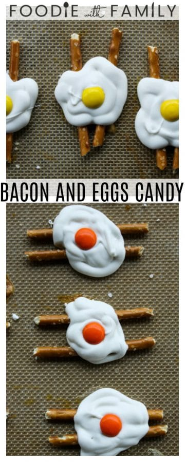Super cute Bacon and Eggs Candy is done in about five minutes and only requires three ingredients. Tuck some into Easter baskets or surprise your favorite sweet-tooth with a plate of these tonight.