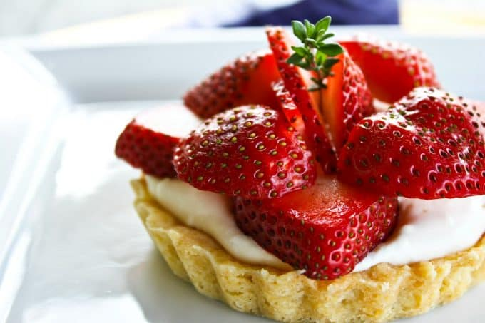 Sweet spring perfection with Brown Sugar Strawberries and Cream Tartlets