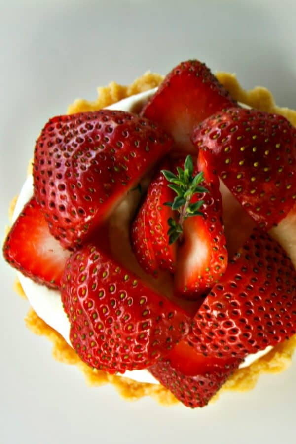 Brown Sugar Strawberries and Cream Tartlets in butter tart shells