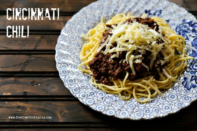 Cincinnati Chili with spaghetti and cheese from foodiewithfamily.com