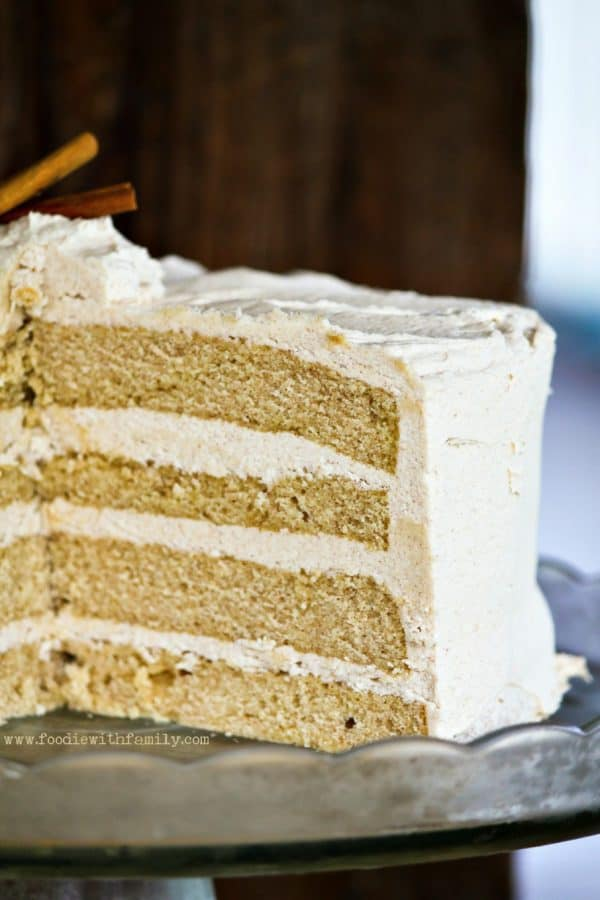 Four layer Snickerdoodle Cake with Cinnamon Brown Sugar Buttercream