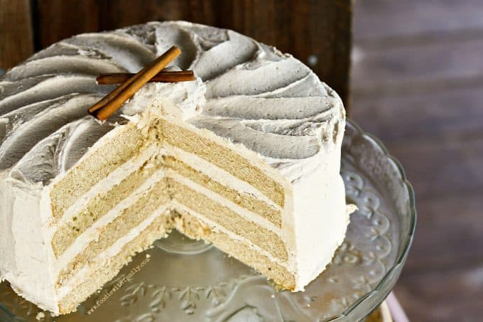 Snickerdoodle Cake with Brown Sugar Buttercream from foodiewithfamily.com