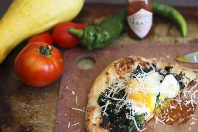 Fancy-Pants Bacon Jam, Spinach, Egg and Asiago Breakfast Pizza