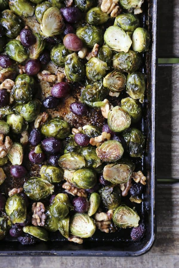 Roasted Brussels Sprouts with Grapes and Walnuts from foodiewithfamily.com