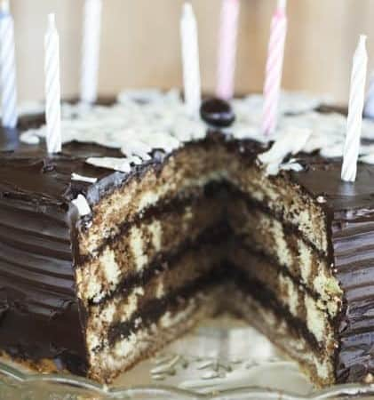 Chocolate Vanilla Swirl Layer Cake with Ganache