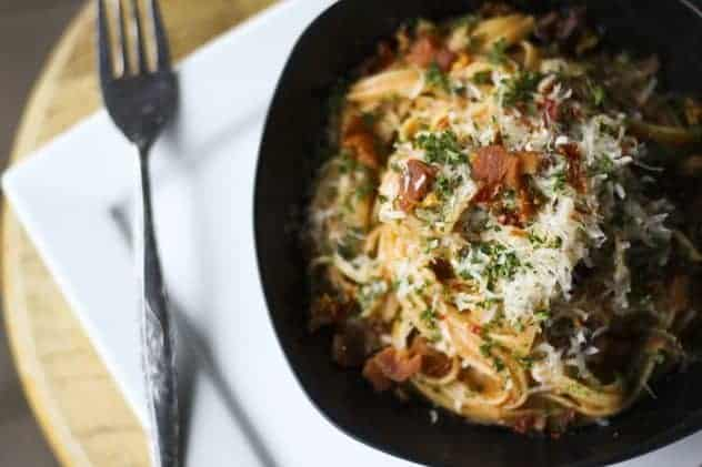 Creamy Tomato and Bacon Linguine