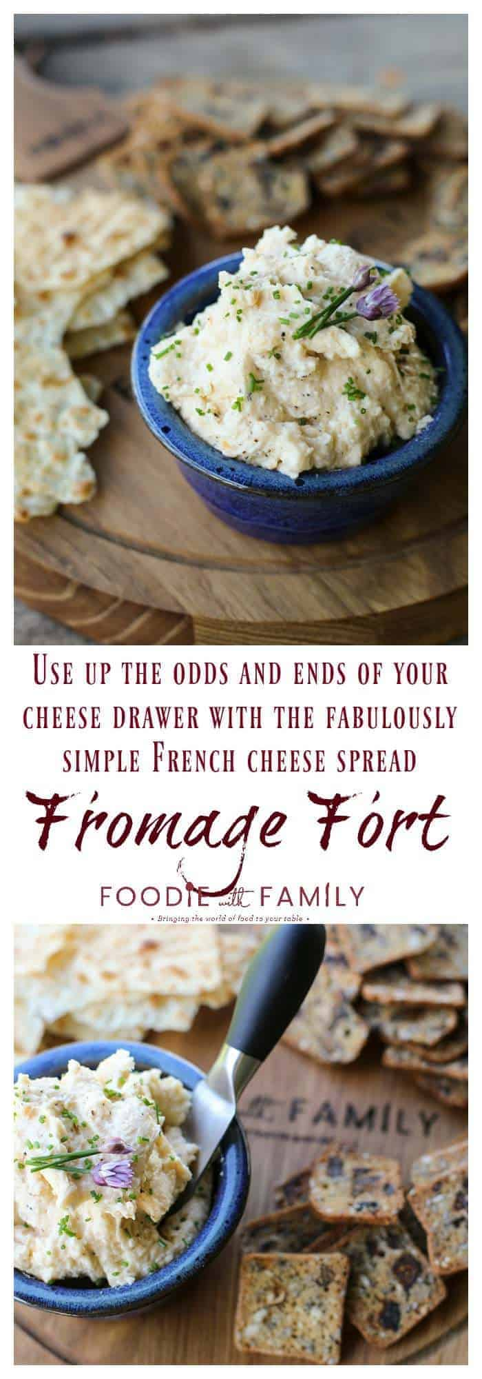 Fromage Fort is a thrifty but fabulous French solution to odds and ends of cheese in your refrigerator. It's as easy as throwing a bunch of grated cheese, a little garlic, and a splash of white wine in a food processor!