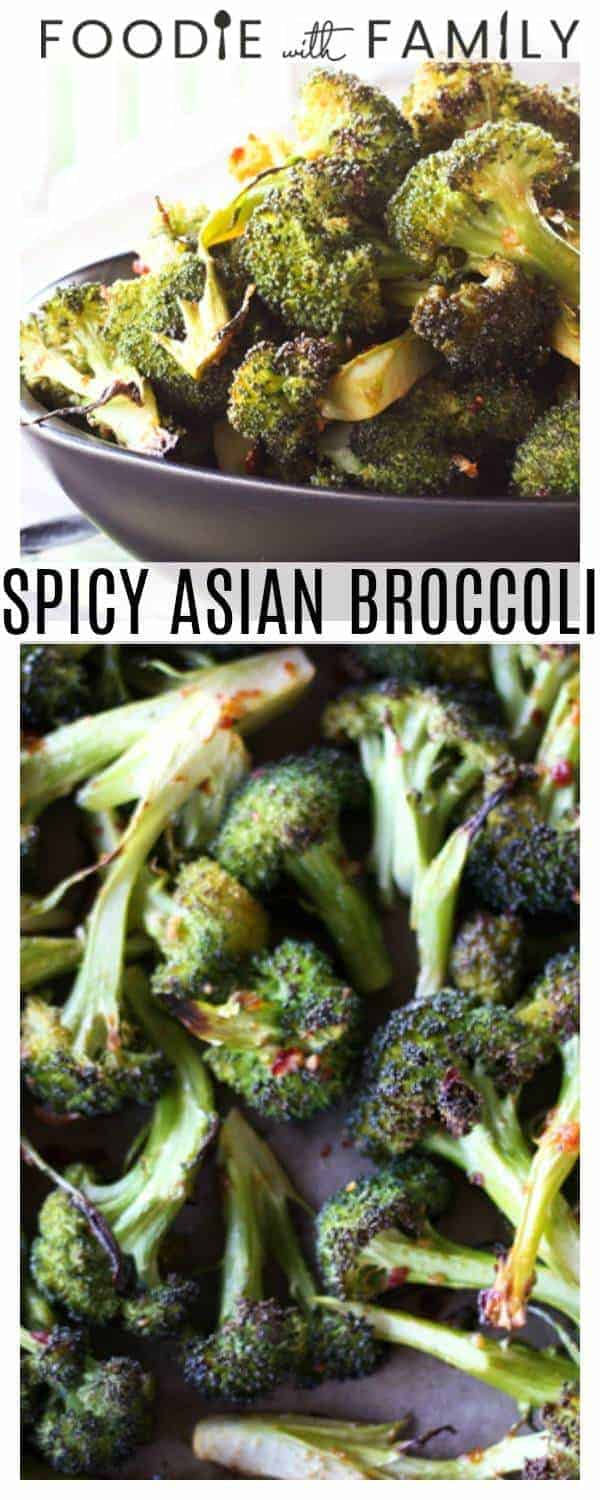 Spicy Asian Broccoli: Long spears of broccoli are tossed with Chinese chile-garlic sauce, minced fresh garlic, sesame oil, a bit of raw sugar and this and that then roasted until crisp-tender. This will beat every white cardboard takeout container of Chinese you can get anywhere without exception.