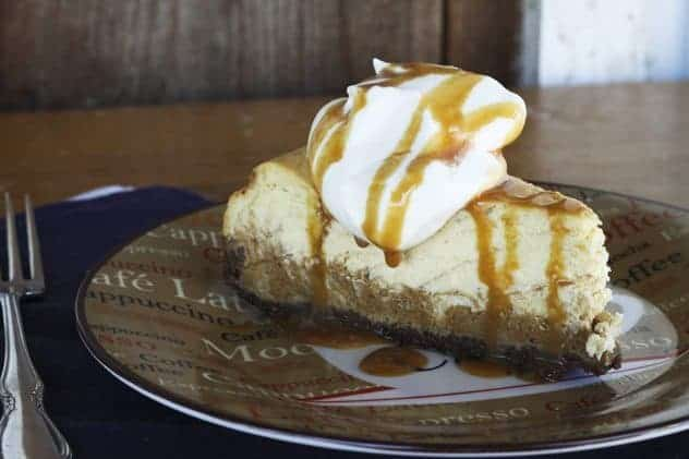 Layered Pumpkin Pie Cheesecake with Salted Caramel