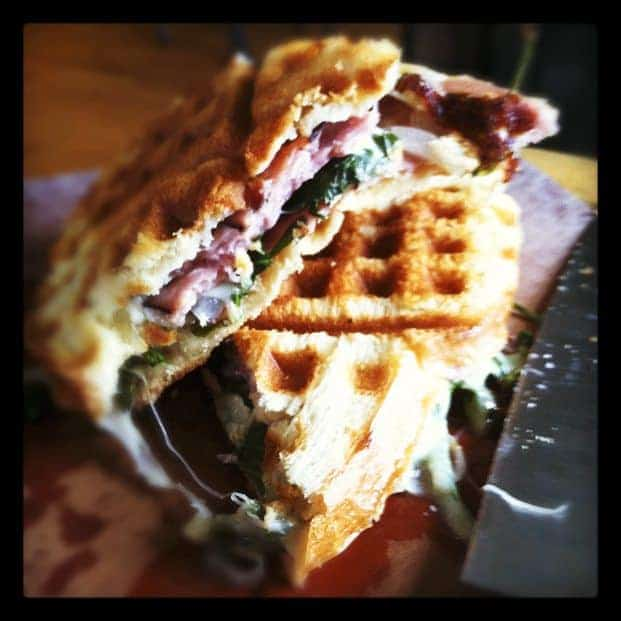 Waffle-Iron Ham and Cheese Paninis