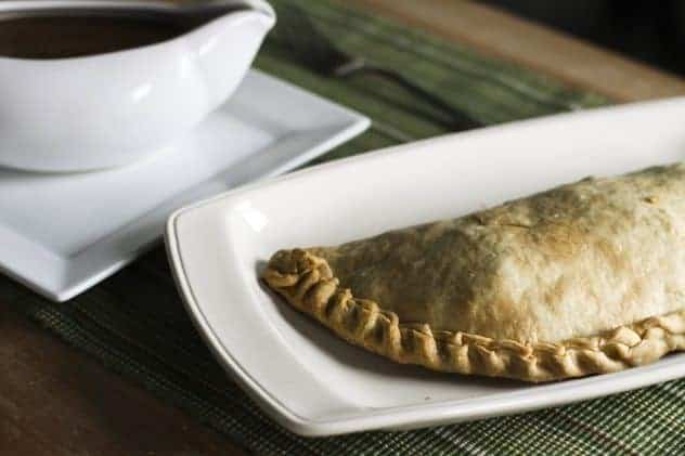 Pasties with beef gravy. A meal in one!
