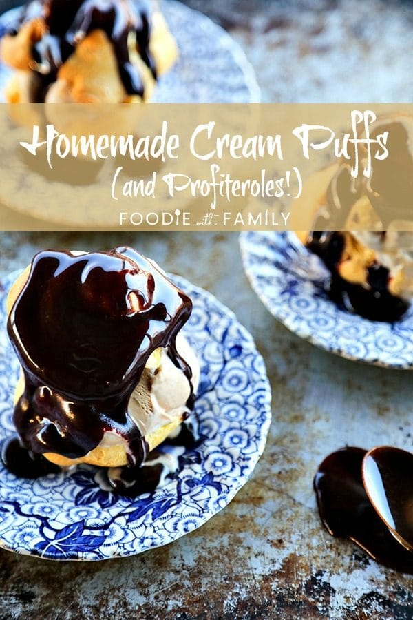 Homemade Cream Puffs filled with ice cream and topped with hot fudge sauce for profiteroles, plus a bonus tip on how to freeze choux pastry ahead of time for almost instant cream puffs!