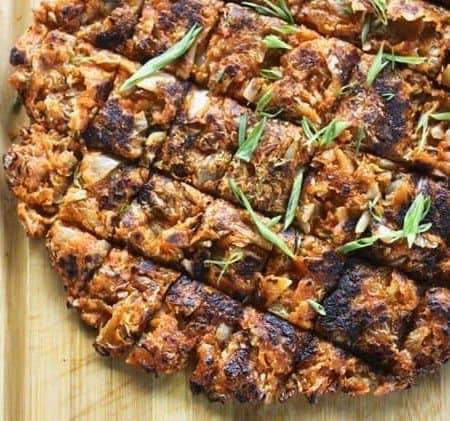 Kimchijeon on a cutting board