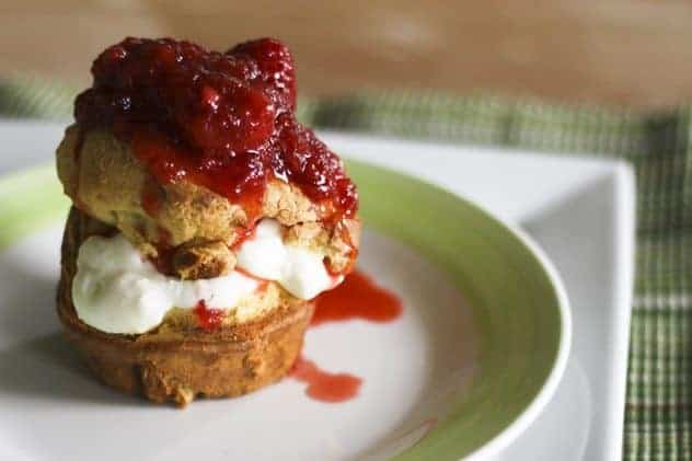Whole Wheat Popovers with Greek Yogurt Creme and Strawberries