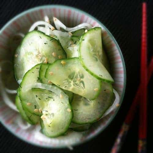 Asian Marinated Cucumber Salad: This delicate, fresh, vibrant, crisp, marinated cucumber salad is the perfect accompaniment to seafood, chicken and pork dishes.