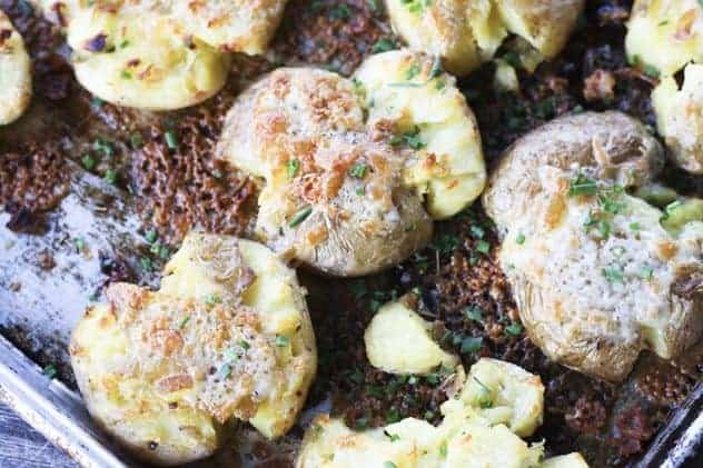 Cheddar and Chive Crash Hot Potatoes