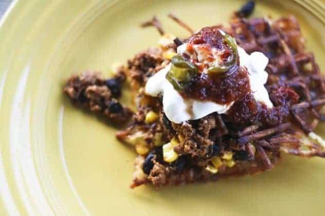 Waffle Iron Hash Browns with Chorizo Hash
