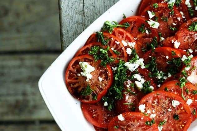 Fresh Tomato Salad with Smoked Blue Cheese   Five Minute Recipe