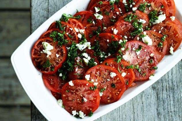 Fresh Tomato Salad with Smoked Blue Cheese | Five Minute Recipe