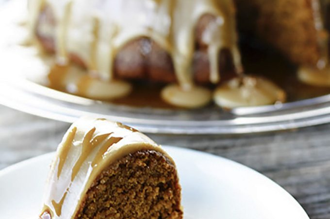 Pumpkin Spice Cake with Maple Frosting + Cider Caramel