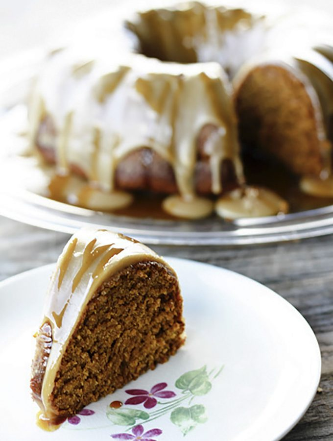 Pumpkin spice Cake with Maple Glaze and Cider Caramel