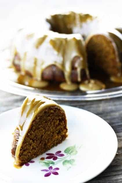 Pumpkin Cake with Maple Frosting and Apple Cider Caramel