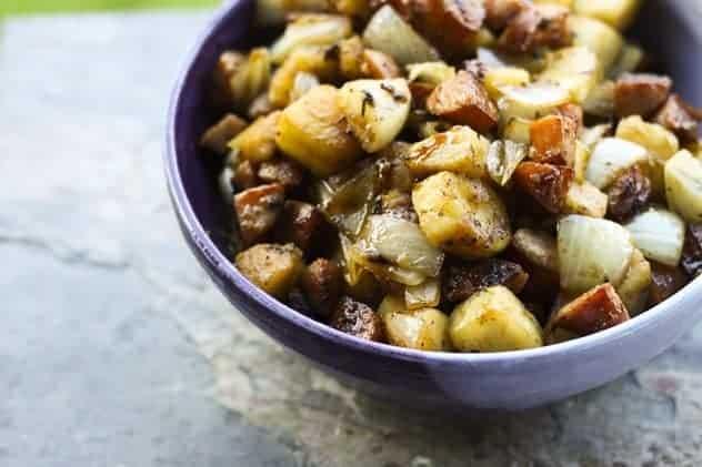 Kielbasa, Apple and Onion Stir-fry with Mini Puff Pancakes
