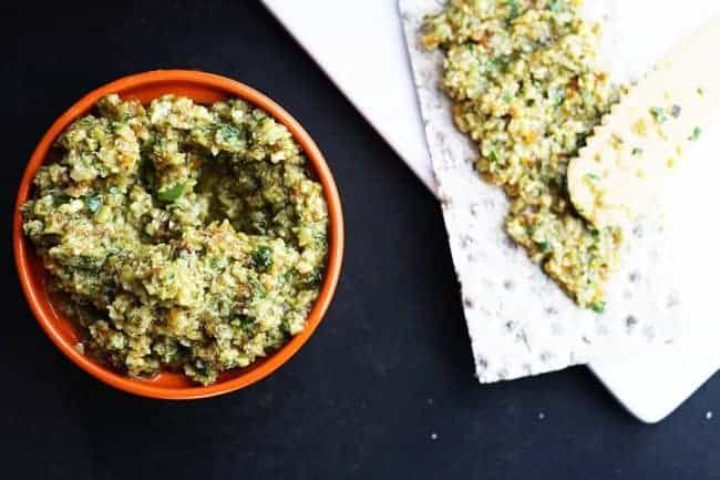 Green Olive Tapenade with Wasa Rye Crisps from Foodie with Family