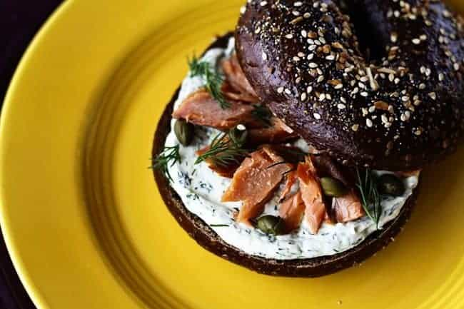 Lemon Dill Spreadable Cream Cheese with the works from Foodie with Family.