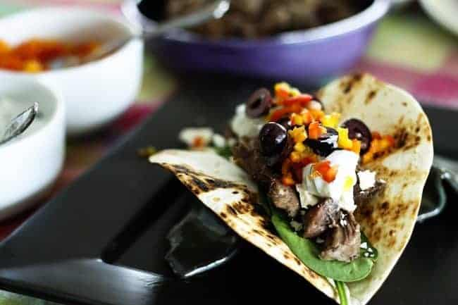 Slow-Cooker Garlic Lamb and Greek Tacos from Foodie with Family