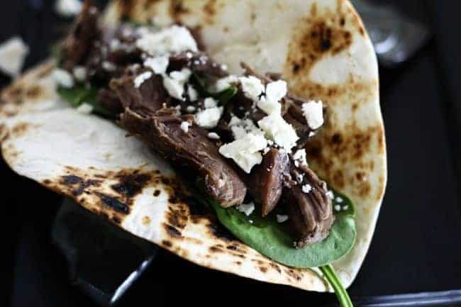 Slow-Cooker Garlic Lamb in Greek Tacos from Foodie with Family