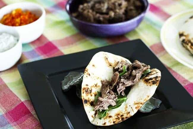 Slow-Cooker Garlic Lamb on Greek Tacos from Foodie with Family