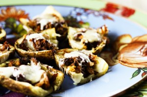 Barbecue Pulled Pork Baked Potato Skins on Foodie with Family