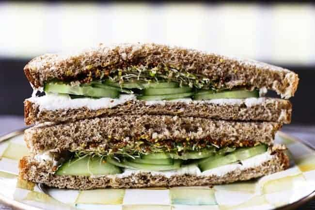 Cucumber, Cream Cheese, and Sprout with Grainy Mustard Sandwiches