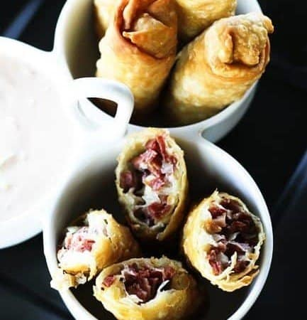 Reuben Egg Rolls and Thousand Island Dipping Sauce