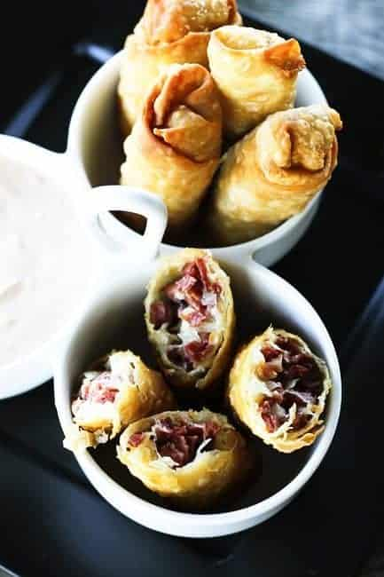 Reuben Egg Rolls from foodie with family