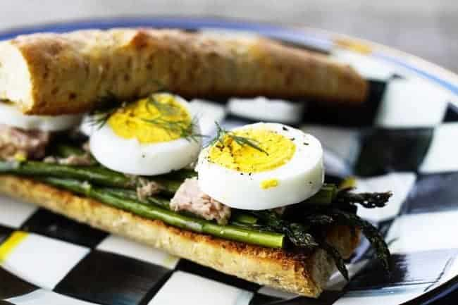 Roasted Asparagus Tuna and Egg Sandwich