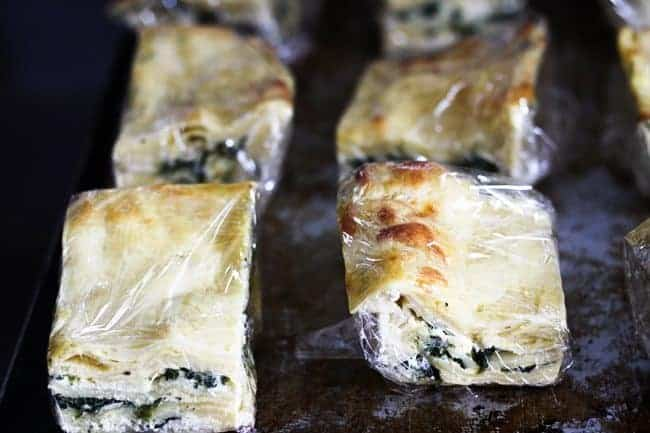 Roasted Garlic Spinach Alfredo Lasagna in individual portions for the freezer from Foodie with Family