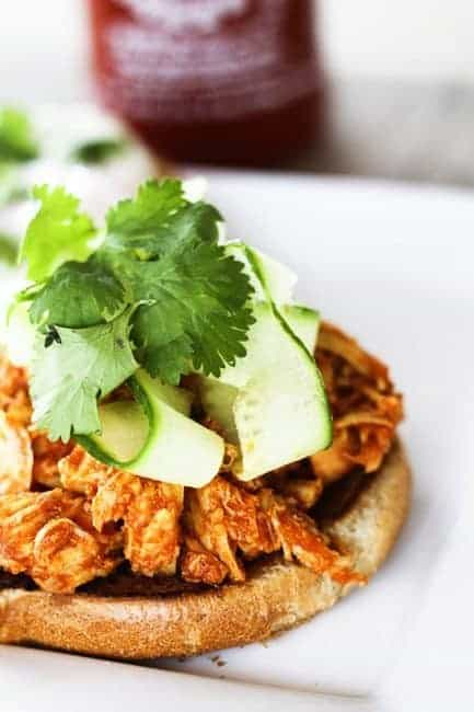 Gentle sweetness from honey brings out the best of the tasty heat from Sriracha in this great Slow-Cooker Honey Sriracha Barbecue Chicken. Pile the chicken high on sandwiches topped with a cucumber, cilantro salad, and a fried egg ~or~ on a tossed salad, in tacos or on a chicken fajita or barbecue pizza. Leftovers store beautifully in individual portions in the freezer.