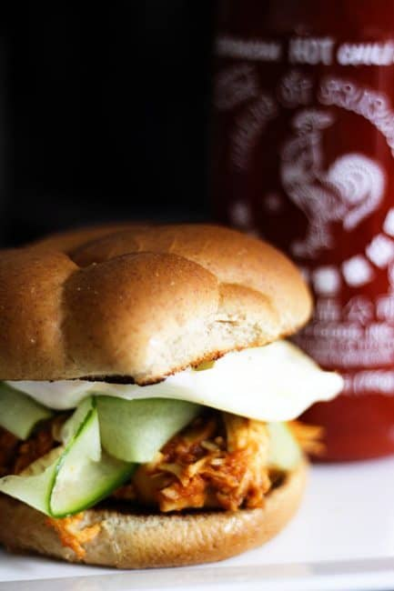 Slow Cooker Honey Sriracha Barbecue Chicken | www.foodiewithamily.com