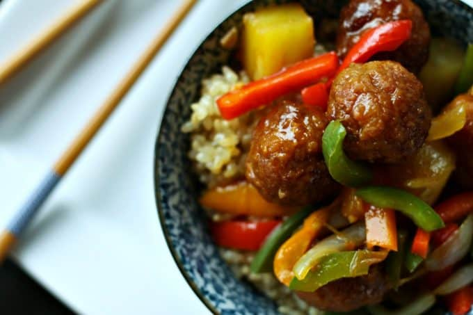 Sweet and Sour Ham Ball Stir Fry from foodiewithfamily.com